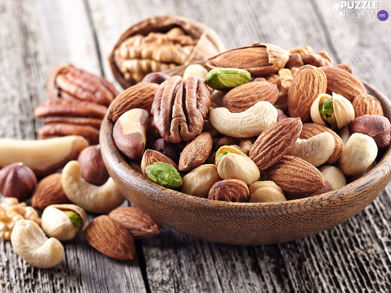 bowl, nuts, almonds