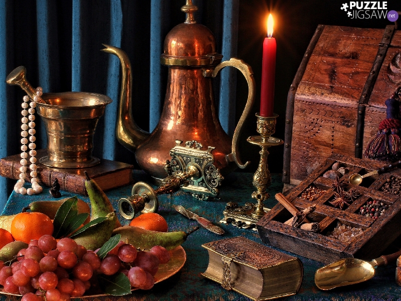 candle, candlestick, box, Books, casket, jug, Fruits, composition, mortar, spice, Pearl