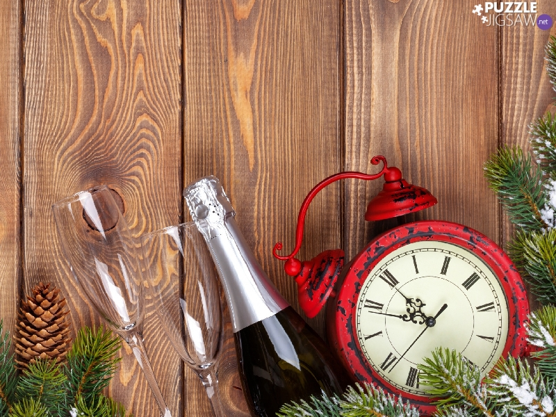 alarm clock, Champagne, boarding, glasses, cones, Red, composition, Twigs