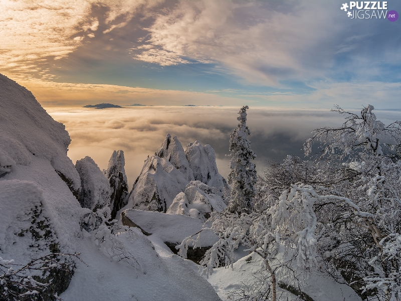 viewes, rocks, Mountains, Fog, peaks, trees, winter, clouds