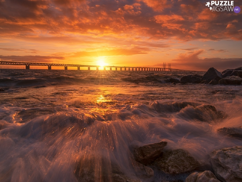 Sunrise, clouds, rocks, bridge, sea
