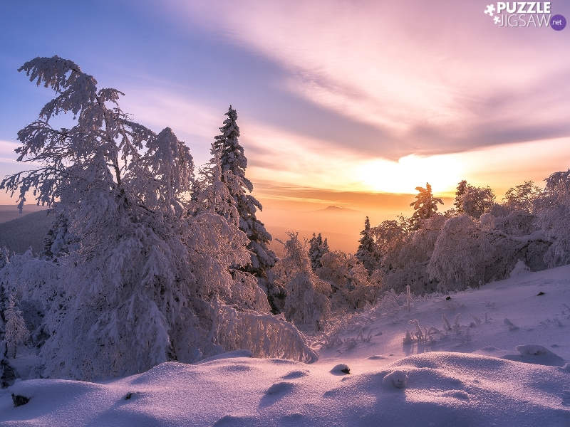 Snowy, Mountains, viewes, forest, winter, trees, Sunrise