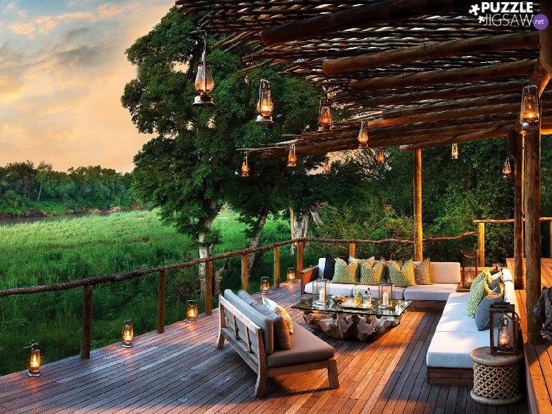 Lamps, terrace, viewes, furniture, house, trees, River