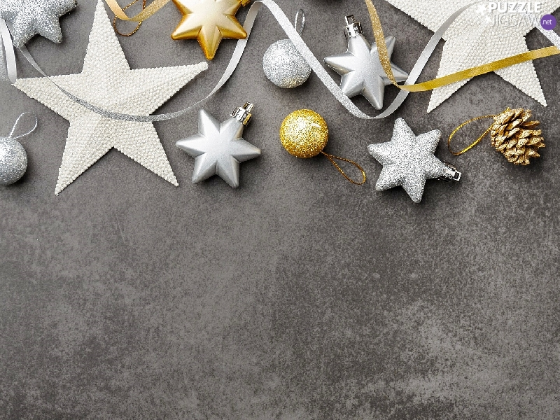 Golden, Christmas, Silver, baubles, dark, background, cone, ribbon, Stars
