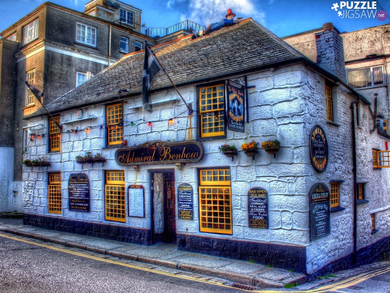 HDR, Street, house, Admiral Benbow, Restaurant