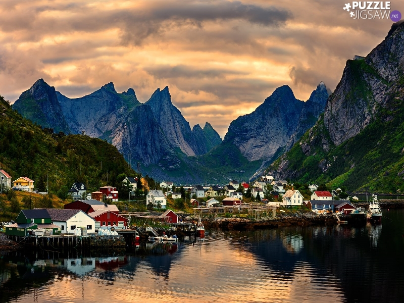 Reine Village, Norway, Mountains, clouds, Houses, Lofoten