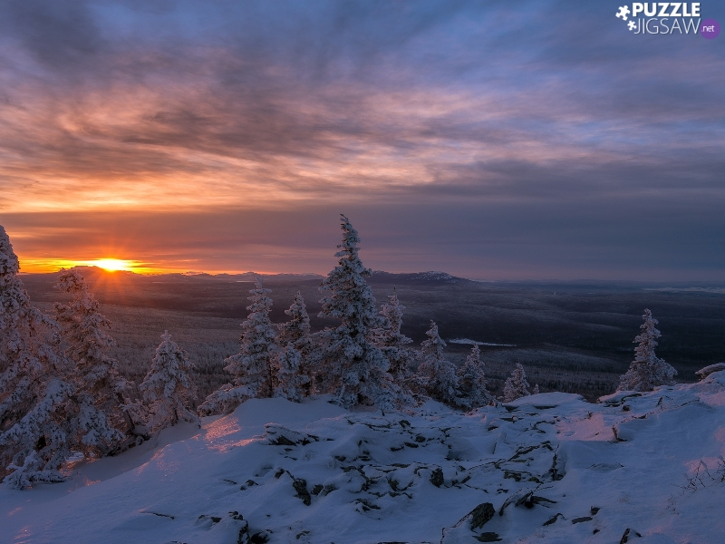 viewes, Great Sunsets, Mountains, trees, winter