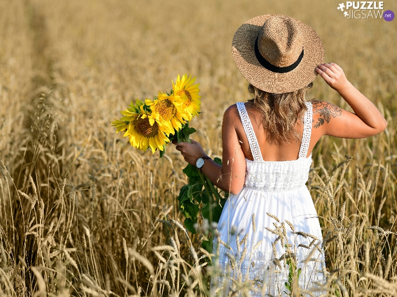 Hat, Women, bouquet, Nice sunflowers, Field, Blonde