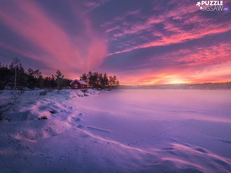 Ringerike, Norway, lake, trees, Great Sunsets, winter, house, clouds, viewes