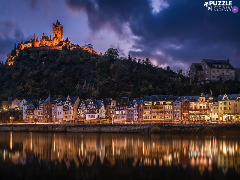 vessels, Houses, City of Cochem, Moselle River, Reichsburg Castle, light, Germany