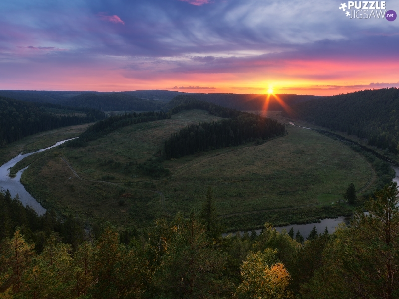 River, curve, viewes, Meander, The Hills, trees, Great Sunsets