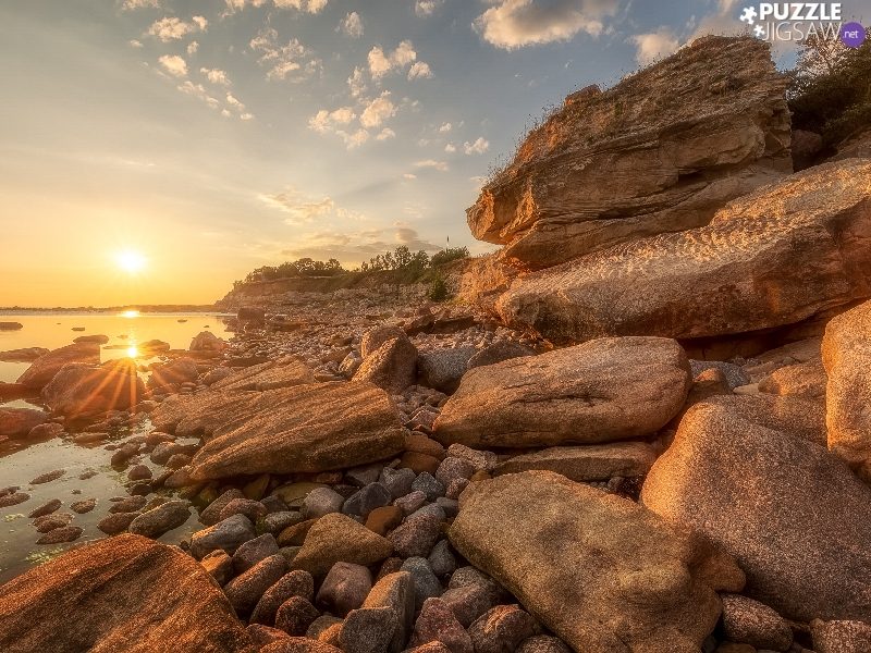rocks, rays of the Sun, trees, coast, sea, Stones, viewes