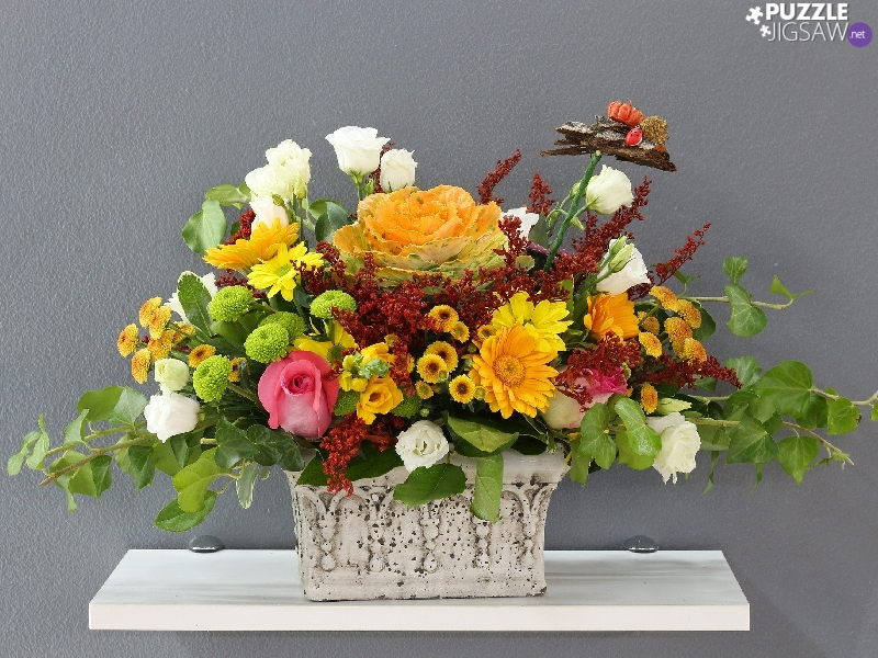 Vase, shelf, Flowers, bouquet, color