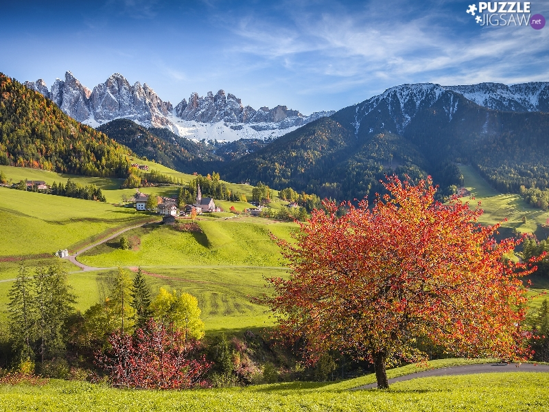 trees, Dolomites Mountains, viewes, The Hills, Italy, Santa Maddalena, Houses, Val di Funes Valley