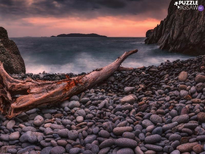 Great Sunsets, Japanese Sea, rocks, Stones, Seaside, Russia, trees, viewes, Lod on the beach