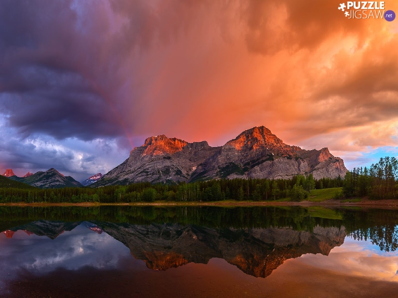 reflection, trees, clouds, Mountains, viewes, lake, Great Sunsets