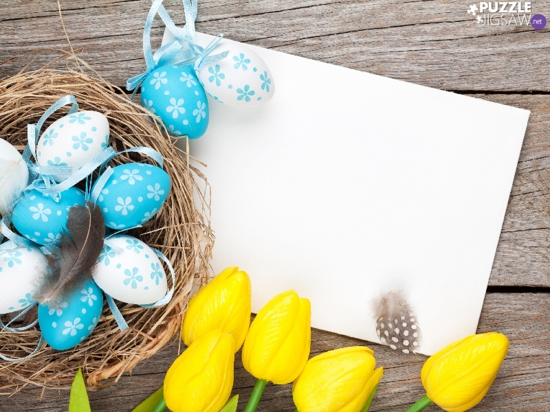 Tulips, eggs, composition, card, Easter