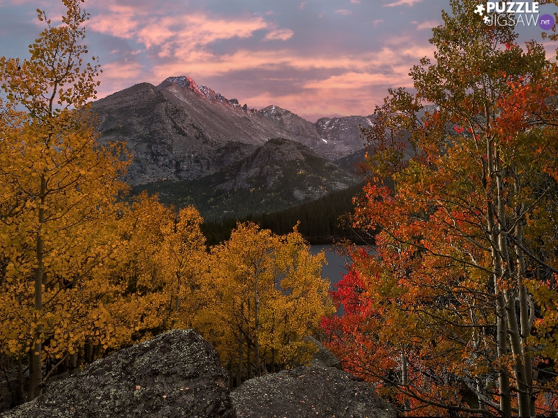 Rocky Mountain National Park, Bear Lake, The United States, trees, Colorado, rocky mountains, autumn, viewes