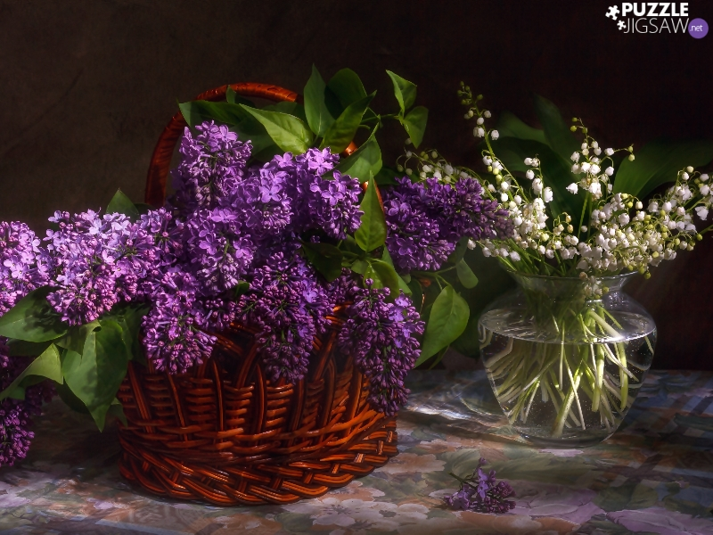 basket, Violet, without, Bouquets, Vase, lily of the Valley