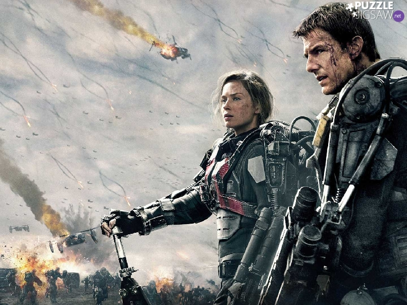 On the Edge of Tomorrow, Emily Blunt, soldiers, movie, Tom Cruise, Characters, Weapons