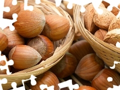 Baskets, hazelnuts, almonds, nuts