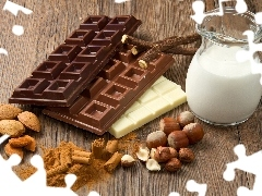 chocolate, nuts, almonds, milk