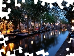 Amsterdam, Netherlands, canal, bridge, Houses