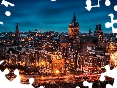 town, Amsterdam, Night, Houses, panorama, Churches, Streets