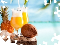 ananas, Coconut, Two cars, shell, drinks
