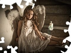 Stairs, girl, angel, small