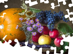 apples, composition, Flowers, Aster, Grapes, pumpkin