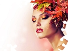 Autumn, Leaf, Subbotina, model, Anna