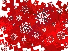 flakes, Red, background, snow