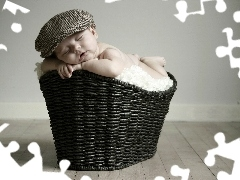 Sleeping, Hat, basket, Kid