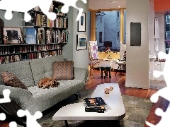 sofa, Books, Room, table