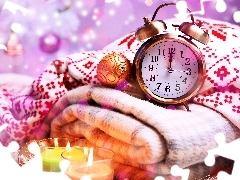 alarm clock, candles, baubles, Clock