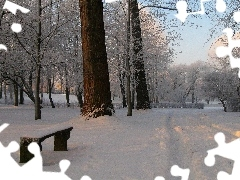 trees, winter, Bench, snow, viewes, Park