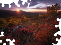 Great Sunsets, Altai Mountains, autumn, trees, Altai Republic, Russia, birch, rocks, viewes