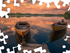 boats, Norway, Platform, Great Sunsets, lake, Ringerike