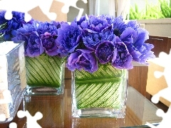 Bouquets, flowers, vases, Blue, glass