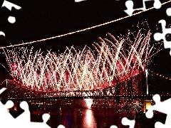 fireworks, bridge, New Year