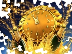 Champagne, Clock, New Year