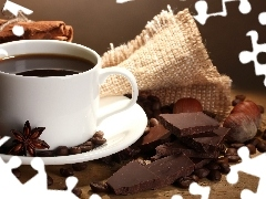 cup, grains, chocolate, coffee