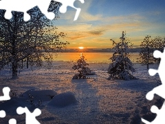 Christmas, viewes, winter, Great Sunsets, trees