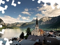 lake, Town, church, Mountains