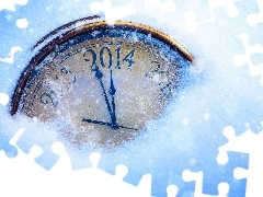 snow, New Year, Clock