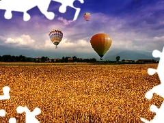Balloons, corn, clouds, Field