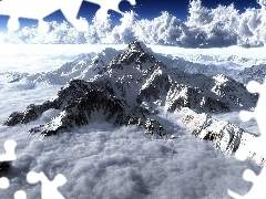 peaks, Rocks, clouds, Mountains