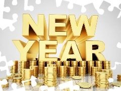 New, text, coins, year