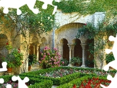 color, Flowers, France, Garden, Cloister